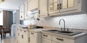 image of kitchen tile backsplash installation being performed by JD MacGillivray Painting and Decorating of Newmarket, Aurora, King City, Richmond Hill and Markham